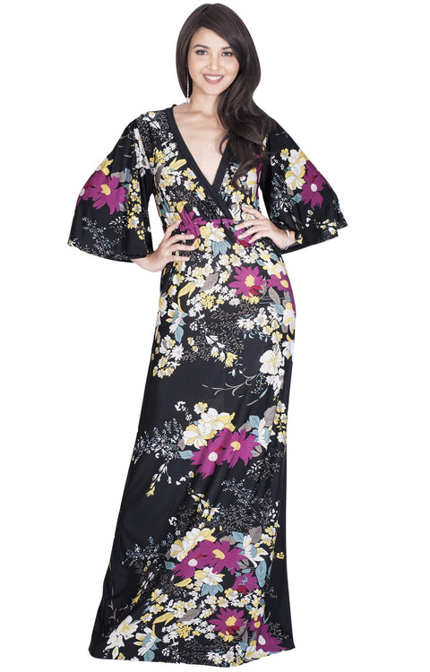 DEBRA - Long 3/4 Sleeve Floral Flower Print Flowy Sexy Maxi Dress Gown - Black / Extra Small
