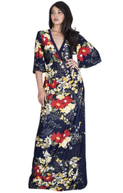 DEBRA - Long 3/4 Sleeve Floral Flower Print Flowy Sexy Maxi Dress Gown - Dark Navy Blue / Extra Small