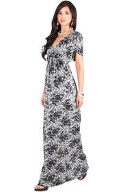 DELMA - Short Sleeve Ruched V-Neck Printed Maxi Dress