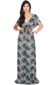 DELMA - Short Sleeve Ruched V-Neck Printed Maxi Dress - Black / 2X Large