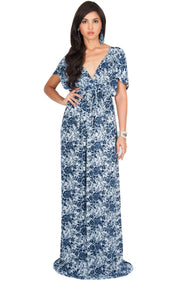 DELMA - Short Sleeve Ruched V-Neck Printed Maxi Dress - Dark Navy Blue / 2X Large