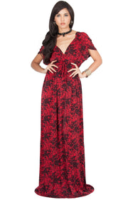DELMA - Short Sleeve Ruched V-Neck Printed Maxi Dress - Red / 2X Large