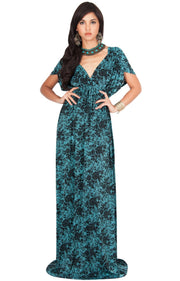 DELMA - Short Sleeve Ruched V-Neck Printed Maxi Dress - Turquoise / 2X Large