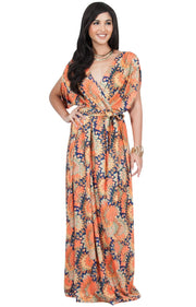 EARTHA - V Neck Summer Sun Long Baby Shower Maternity Maxi Dress - Orange & Navy Blue / 2X Large