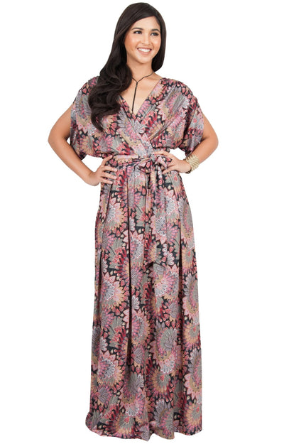 EARTHA - V Neck Summer Sun Long Baby Shower Maternity Maxi Dress - Pink & Black / 2X Large