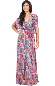EARTHA - V Neck Summer Sun Long Baby Shower Maternity Maxi Dress - Pink & Purple / 2X Large