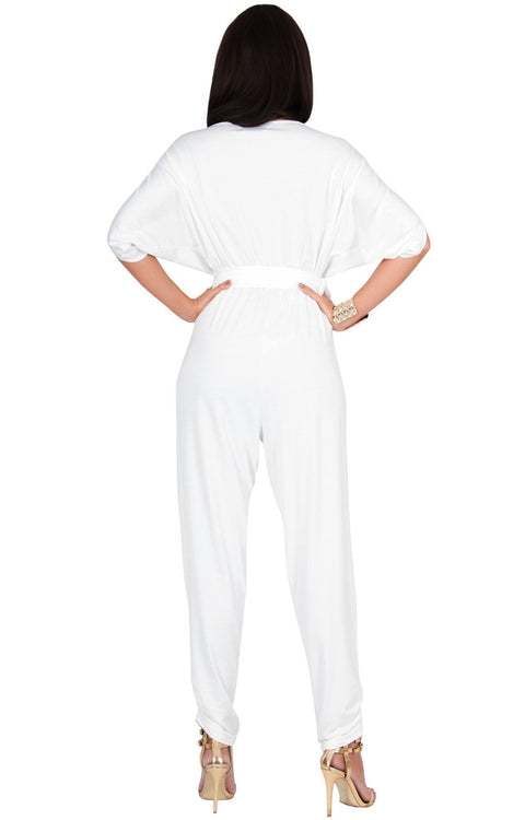 EDITH - Short Split Sleeve V-Neck Crossover Elegant Jumpsuit