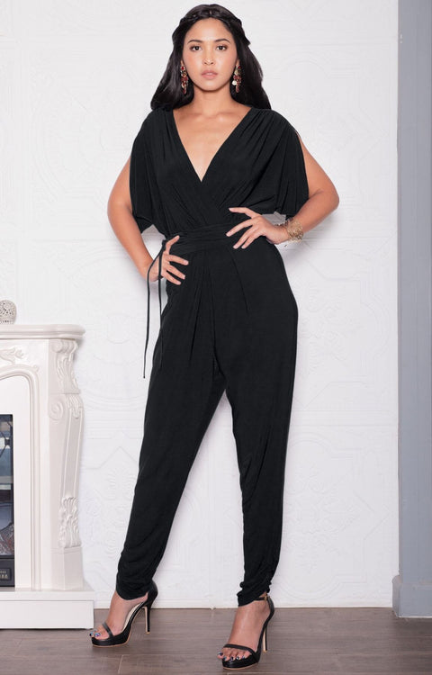 EDITH - Short Split Sleeve V-Neck Crossover Elegant Jumpsuit - Black / 2X Large