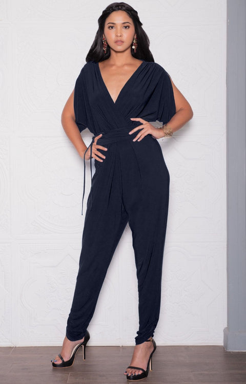 EDITH - Short Split Sleeve V-Neck Crossover Elegant Jumpsuit - Dark Navy Blue / 2X Large