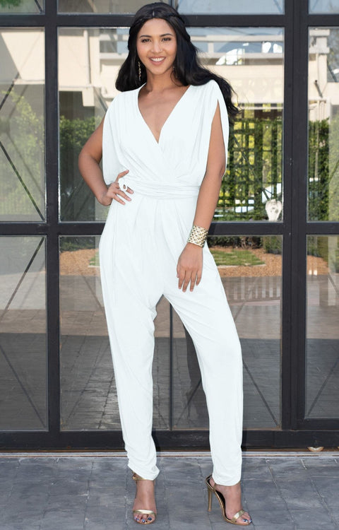 EDITH - Short Split Sleeve V-Neck Crossover Elegant Jumpsuit - Ivory White / 2X Large