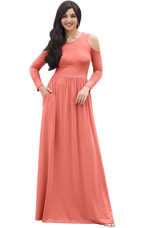 ELEONORE - Long Sleeve Cold Shoulder A-line Sundress Maxi Dress Gown