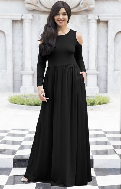 ELEONORE - Long Sleeve Cold Shoulder A-line Sundress Maxi Dress Gown - Black / Extra Small