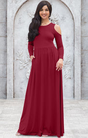 ELEONORE - Long Sleeve Cold Shoulder A-line Sundress Maxi Dress Gown - Crimson Dark Red / Extra Small