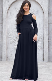 ELEONORE - Long Sleeve Cold Shoulder A-line Sundress Maxi Dress Gown - Dark Navy Blue / Extra Small