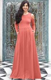 ELEONORE - Long Sleeve Cold Shoulder A-line Sundress Maxi Dress Gown - Light Pink Peach / Extra Small
