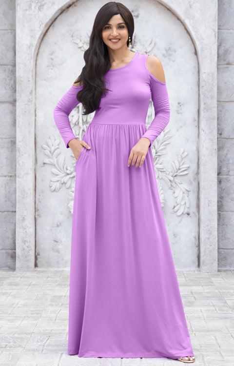 ELEONORE - Long Sleeve Cold Shoulder A-line Sundress Maxi Dress Gown - Lilac Light Purple / Extra Small