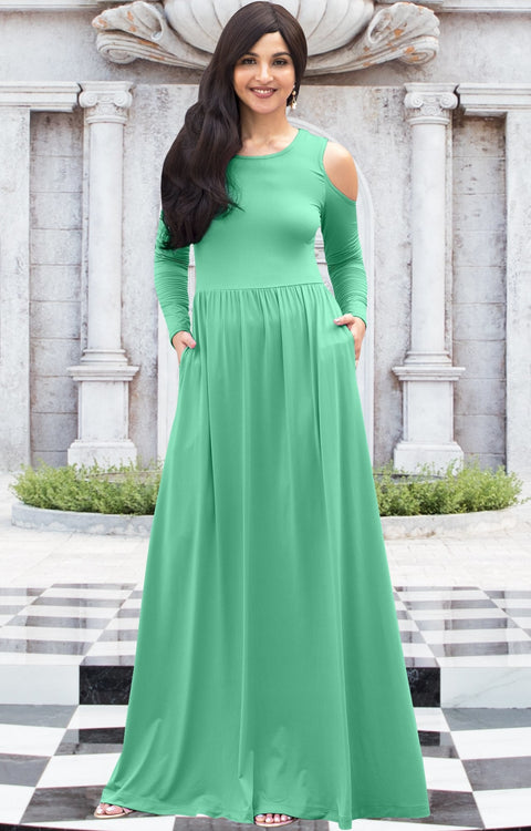 ELEONORE - Long Sleeve Cold Shoulder A-line Sundress Maxi Dress Gown - Moss / Mint Green / Extra Small