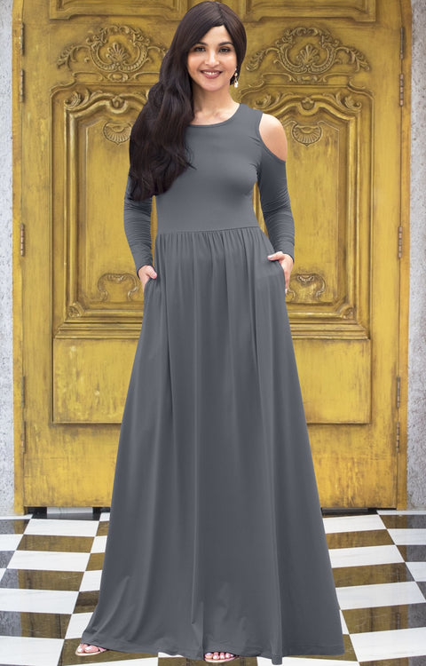 ELEONORE - Long Sleeve Cold Shoulder A-line Sundress Maxi Dress Gown - Pewter Gray Grey / Extra Small