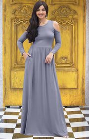 ELEONORE - Long Sleeve Cold Shoulder A-line Sundress Maxi Dress Gown - Silver Light Gray / Extra Small