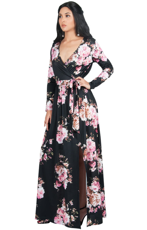 ELLAIZA - Long Sleeve Elegant Vneck Flowy Floral Print Maxi Dress Gown