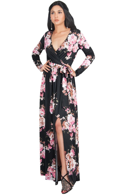 ELLAIZA - Long Sleeve Elegant Vneck Flowy Floral Print Maxi Dress Gown - Dark Navy Blue / Medium