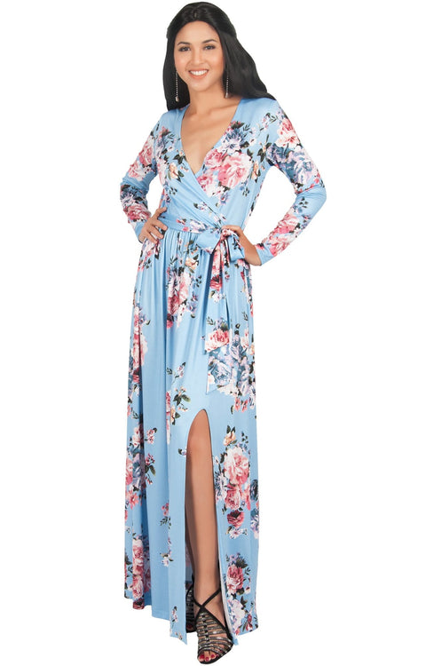 ELLAIZA - Long Sleeve Elegant Vneck Flowy Floral Print Maxi Dress Gown - Sky Baby Light Blue / Medium