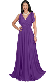 ELLE - Long Wedding Bridesmaid Bridal Formal Evening Gown Maxi Dress