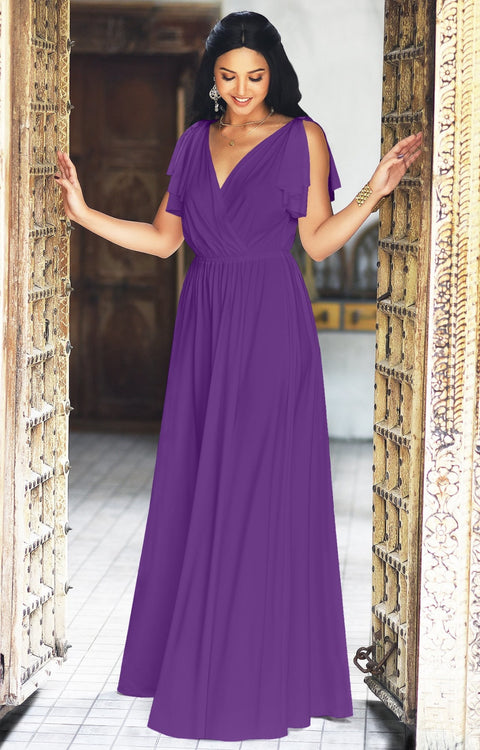 ELLE - Long Wedding Bridesmaid Bridal Formal Evening Gown Maxi Dress - Lavender Purple / 2X Large