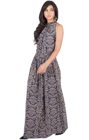 ELVINA - Long Casual Print Sexy Sleeveless Summer Dinner Date Maxi Dress