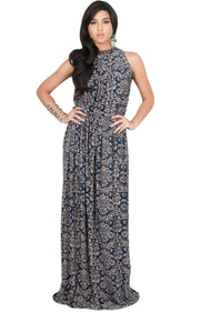 ELVINA - Long Casual Print Sexy Sleeveless Summer Dinner Date Maxi Dress - Navy Blue & Brown / Medium