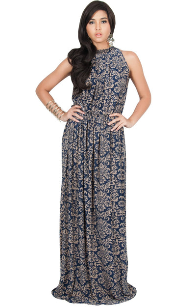 ELVINA - Long Casual Print Sexy Sleeveless Summer Dinner Date Maxi Dress - Black & White / Medium