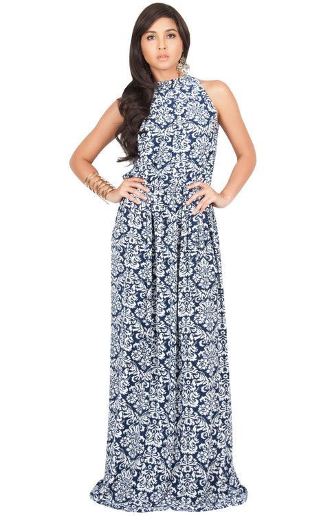 ELVINA - Long Casual Print Sexy Sleeveless Summer Dinner Date Maxi Dress - Navy Blue & White / Medium