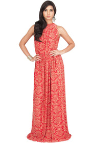 ELVINA - Long Casual Print Sexy Sleeveless Summer Dinner Date Maxi Dress - Red & Beige / Medium