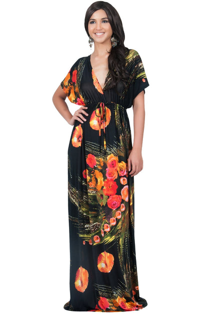 EMMA - Floral Printed Hawaiian Kimono Styled Sleeve Maxi Dress - Black / Large