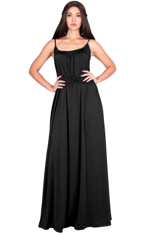 ETA - Long Sexy Bridesmaid Semi Formal Flowy Summer Maxi Dress Gown - Black / Extra Small
