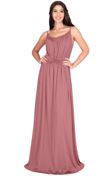 ETA - Long Sexy Bridesmaid Semi Formal Flowy Summer Maxi Dress Gown - Cinnamon Rose Pink / Extra Small
