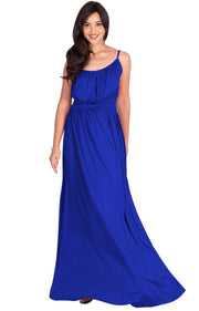 ETA - Long Sexy Bridesmaid Semi Formal Flowy Summer Maxi Dress Gown - Cobalt Royal Blue / Extra Small
