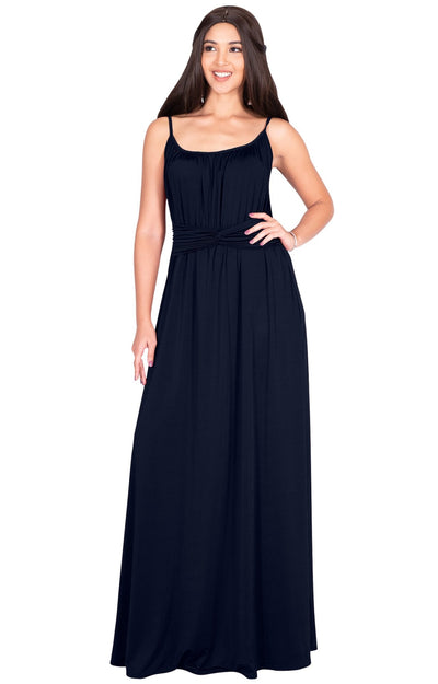 ETA - Long Sexy Bridesmaid Semi Formal Flowy Summer Maxi Dress Gown - Dark Navy Blue / Extra Small