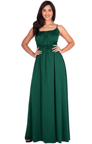ETA - Long Sexy Bridesmaid Semi Formal Flowy Summer Maxi Dress Gown - Emerald Green / Extra Small