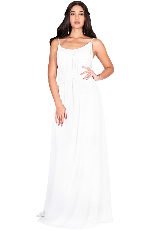 ETA - Long Sexy Bridesmaid Semi Formal Flowy Summer Maxi Dress Gown - Ivory White / Extra Small