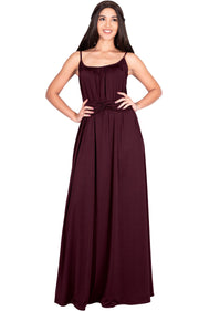 ETA - Long Sexy Bridesmaid Semi Formal Flowy Summer Maxi Dress Gown - Maroon Wine Red / Extra Small