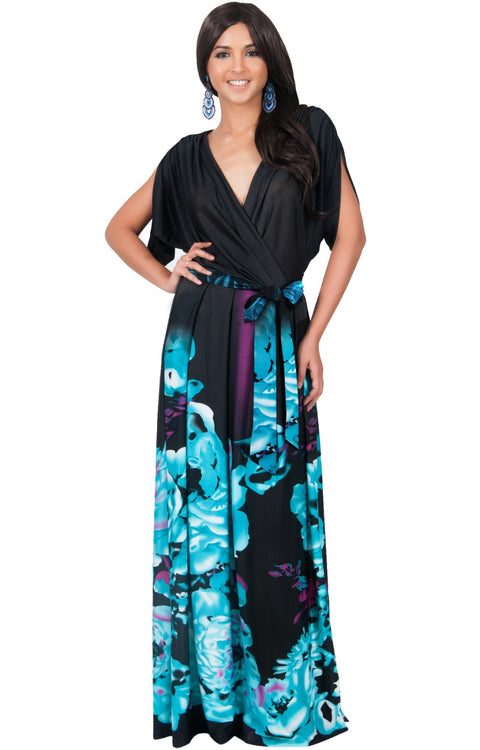 EVA - Batwing Dolman Sleeve Floral Print Maxi Dress - Black & Light Blue / 2X Large