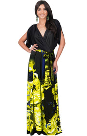 EVA - Batwing Dolman Sleeve Floral Print Maxi Dress - Black & Yellow / 2X Large