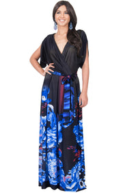 EVA - Batwing Dolman Sleeve Floral Print Maxi Dress - Blue & Black / 2X Large