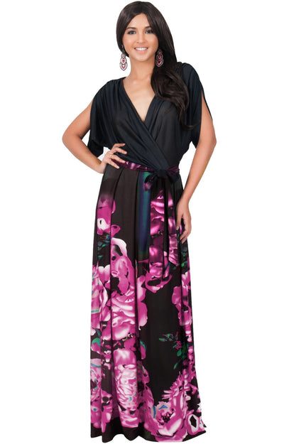 EVA - Batwing Dolman Sleeve Floral Print Maxi Dress - Pink & Black / 2X Large