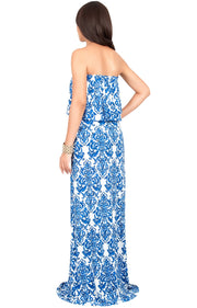 FARRAH - Strapless Vintage Print Summer Cocktail Party Maxi Dress