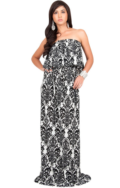 FARRAH - Strapless Vintage Print Summer Cocktail Party Maxi Dress - Black & White / 2X Large