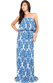 FARRAH - Strapless Vintage Print Summer Cocktail Party Maxi Dress - Royal Blue & White / 2X Large