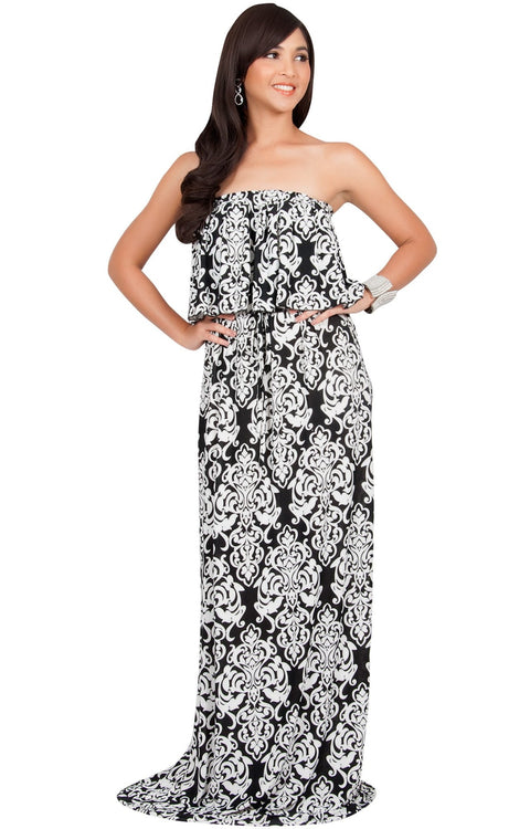 FARRAH - Strapless Vintage Print Summer Cocktail Party Maxi Dress - White & Black / 2X Large