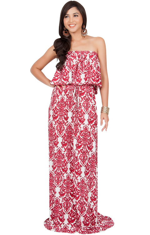 FARRAH - Strapless Vintage Print Summer Cocktail Party Maxi Dress - White & Red / 2X Large